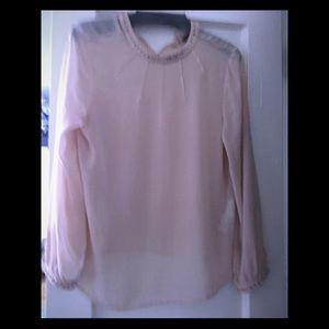 Zara light pink long sleeve blouse